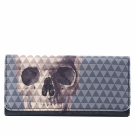 Loungefly Skull with Pyramid Studs White Wallet - Gray