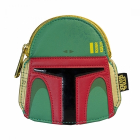 Loungefly Star Wars Boba Fett Red Faux Leather Face Coin Bag - Green
