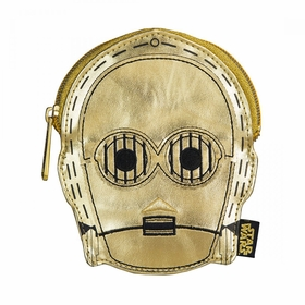 Loungefly Star Wars C3PO Metallic Gold Faux Leather Face Coin Bag - Gold