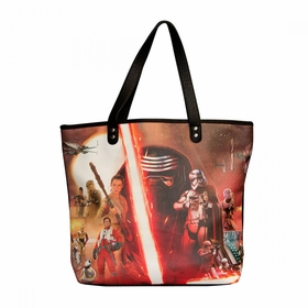 Loungefly Star Wars Force Awakens Movie Poster Black Tote - Red