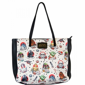 Loungefly Star Wars Tattoo Flash Print Faux Leather Tote Bag