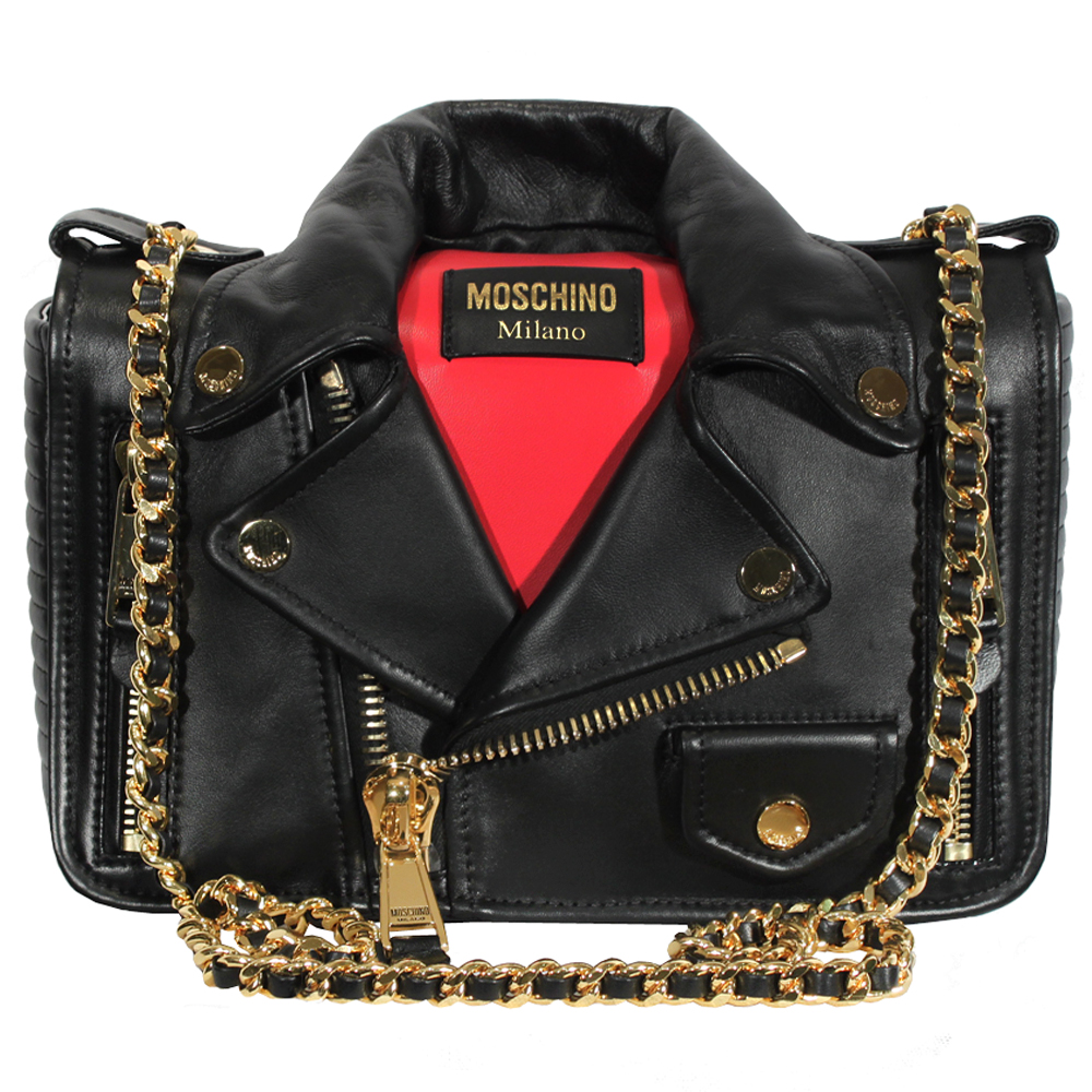 Authentic Moschino Biker Jacket Shoulder Bag Black At