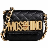 Moschino Gold Logo Quilted Leather Small Pochette - Black