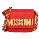 Moschino Gold Logo Quilted Leather Small Pochette - Red
