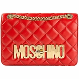Moschino Gold Logo Quilted Shoulder Bag - Red