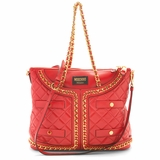 Moschino Quilted Leather Jacket Shopping Tote - Red