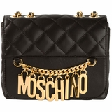 Moschino Quilted Logo Chain Cross Body Bag - Black
