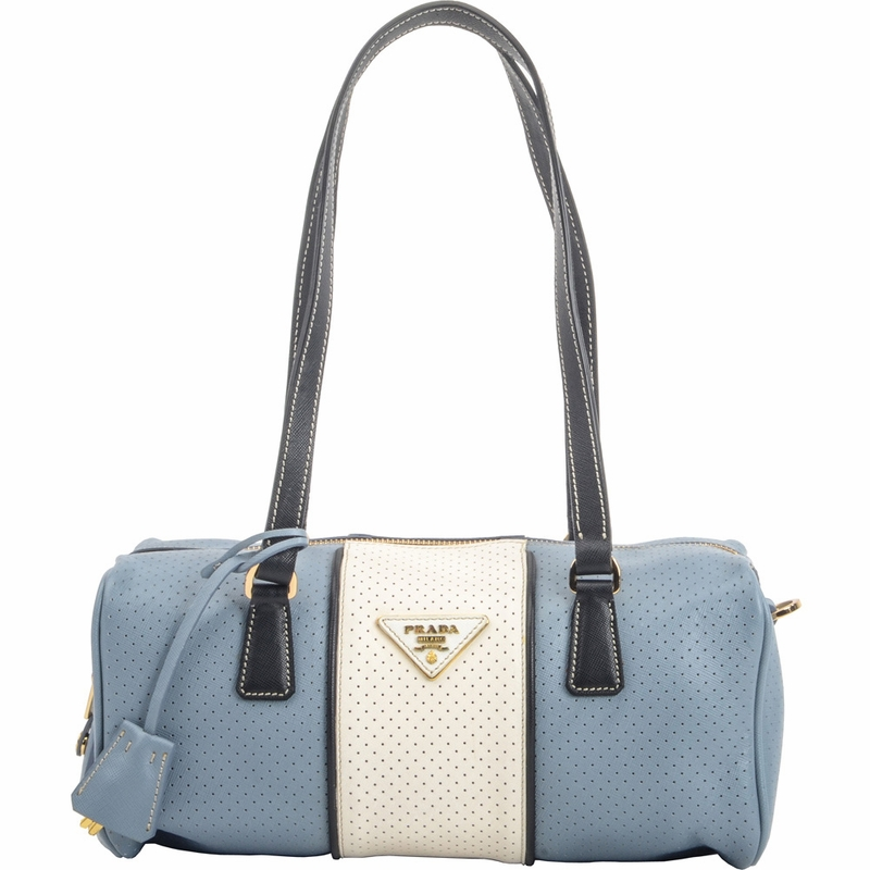 Prada Perforated Leather Bl0647 2017 Handbag Pervinca Nero Blue