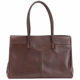 Tods Medium Leather Mocassino Tote - Brown