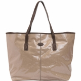 Tods Shiny Canvas Shopping Media Bag - Beige
