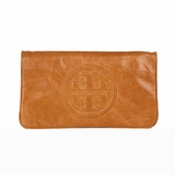 Tory Burch Bombe Reva Logo Clutch Shoulder Wallet Luggage - Brown