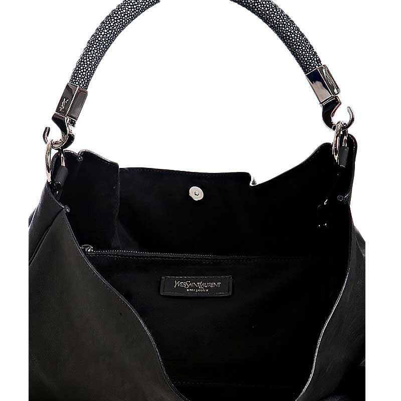 YSL Roady Hobo Stingray Handbag - Black