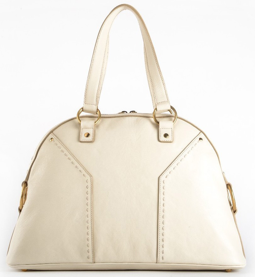Authentic Saint Laurent \u0026#39;Muse\u0026#39; Medium Leather Dome Satchel - Ivory ...