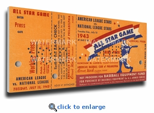 1943 MLB All-Star Game Canvas Mega Ticket, Athletics Host - Shibe Park