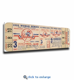 1952 World Series Canvas Mega Ticket - New York Yankees