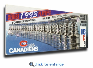 1993 NHL Stanley Cup Canvas Mega Ticket - Montreal Canadiens