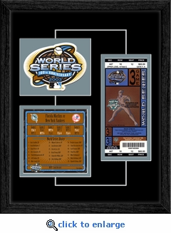 2003 World Series Replica Ticket & Patch Frame - Florida Marlins