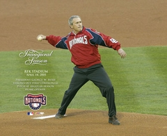2005 Washington Nationals Opening Day Ceremony President Bush Throwing First Pitch 8x10 Photo