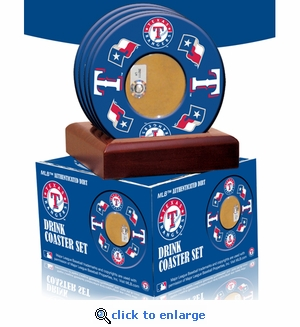 2010 Game Used Dirt In Texas Rangers Logo Set of 4 Coasters (MLB Authenticated)