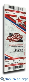2011 NHL All-Star Game Canvas Mega Ticket, Hurricanes Host - MVP Sharp