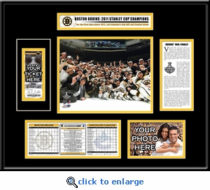 2011 NHL Stanley Cup Final Champions Ticket Frame - Boston Bruins