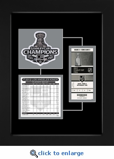 2012 NHL Stanley Cup Final Patch, Roster & Replica Ticket Frame - Los Angeles Kings