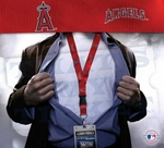 Los Angeles Angels MLB Lanyard Key Chain and Ticket Holder - Red