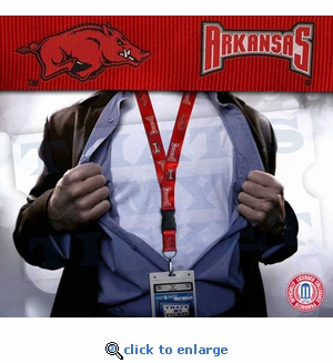 Arkansas Razorbacks NCAA Lanyard Key Chain and Ticket Holder - Red