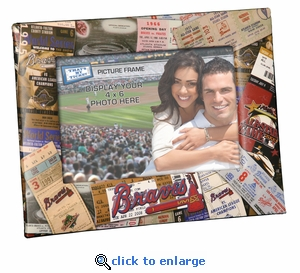 Atlanta Braves Padded Front 4x6 Picture Frame - Ticket Collage Design