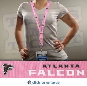 Atlanta Falcons NFL Lanyard Key Chain and Ticket Holder - Pink