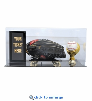 Baseball Glove, Ball and Ticket Display Case