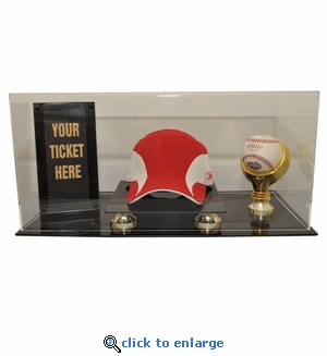Baseball Hat, Ball and Ticket Display Case