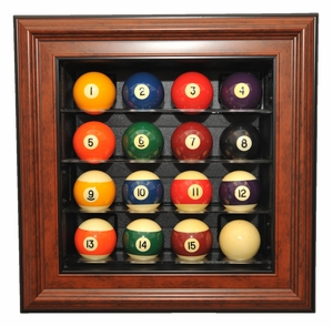 Cabinet Style 16 Pool Ball Display Case, Brown