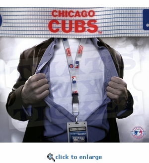 Chicago Cubs MLB Lanyard Key Chain and Ticket Holder - Pinstripe