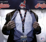 Cleveland Indians MLB Lanyard Key Chain and Ticket Holder - Navy