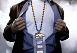 Denver Broncos Mardi Gras Beads Lanyard with Medallion and Ticket Holder