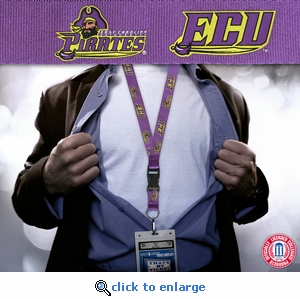 East Carolina University Pirates NCAA Lanyard  Key Chain and Ticket Holder