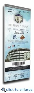 Final Game at Yankee Stadium Canvas Mega Ticket