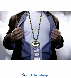 Green Bay Packers Mardi Gras Beads Lanyard with Medallion and Ticket Holder