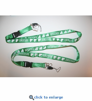 Irish Shamrock Lanyard Key Chain with Ticket Holder