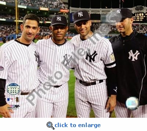Jorge Posada, Mariano Rivera, Derek Jeter, Andy Pettitte Final Game At Yankee Stadium 2008 8x10 Photo