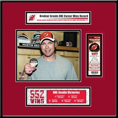 Martin Brodeur NHL All-Time Wins Record Ticket Frame Jr - Devils