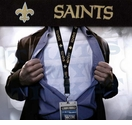 New Orleans Saints NFL Lanyard Key Chain and Ticket Holder - Black