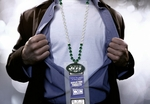 New York Jets Mardi Gras Beads Lanyard with Medallion and Ticket Holder