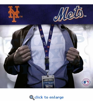 New York Mets MLB Lanyard Key Chain and Ticket Holder - Navy