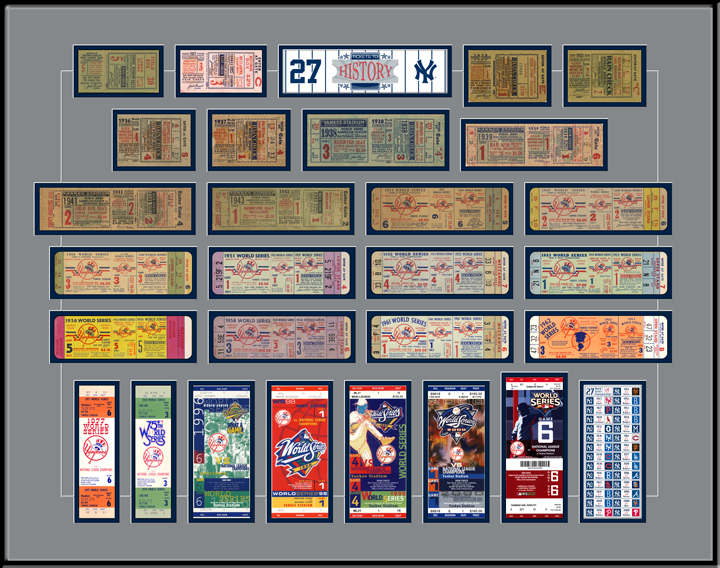 new york yankees 27 time world series champions tickets to history replica ticket frame