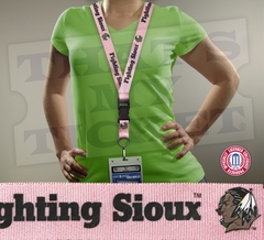North Dakota Fighting Sioux NCAA Lanyard Key Chain and Ticket Holder - Pink