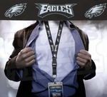 Philadelphia Eagles NFL Lanyard Key Chain and Ticket Holder - Black