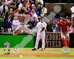 Red Sox 2007 World Series Win Papelbon Leaping 8x10 Photo