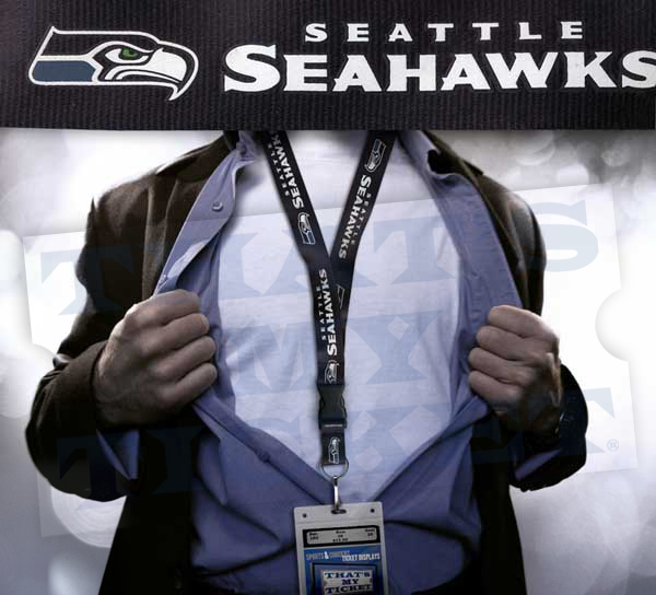 Seattle Seahawks NFL Lanyard Key Chain and Ticket Holder